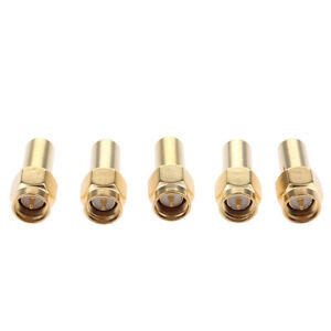 100pcs Copper Gold SMA Male to RP-SMA Male Plug in Series RF Connector Adapter Coupler Straight SMA-JJ Type