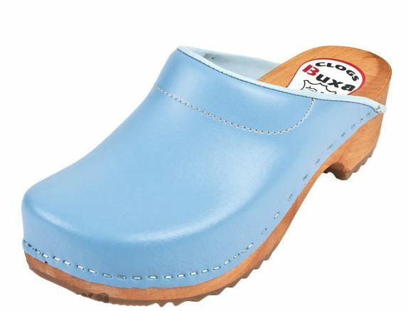 Wooden  leather clogs blu Coloreeeee F3     donna