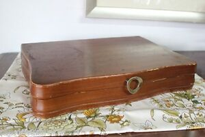Vecchia scatola in legno portaposate vintage porta - Scatola portafrutti da tavolo ...