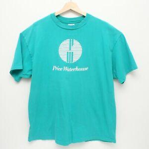 VIntage-Price-Waterhouse-Single-Stitch-Hanes-Beefy-T-Shirt-XL-Teal-USA-Made
