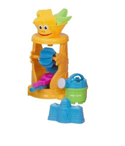 Kids WaterMill Beach Seaside Holiday Playset Water can Spade Rake Fun Toys Sand