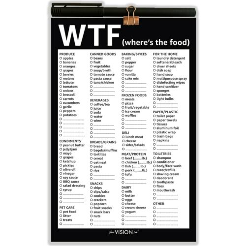 """Funny Grocery List Pad with Fridge Magnet /& Pen Holder 8.5"""" x 5.5"""" 50 Sheets"""