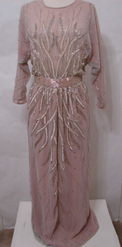 RUBEN PANIS Gown Vintage Sheer Nude Illusion Laven