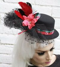 RED ORCHID VEIL MINI TOP HAT WIDOW GOTHIC HALLOWEEN GOTH VAMPIRE CORPSE BRIDE