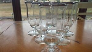 Vintage Ice Tea glasses optic panel footed platinum trim 6 15 oz elegant stems