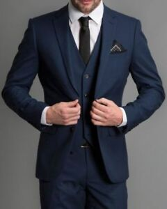 Image Is Loading Men Navy Blue Formal 3 Piece Suit Groom