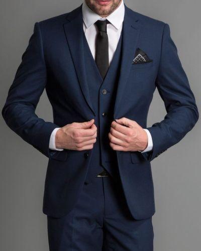 Men Navy Blue Formal 3 Piece Suit Groom Tuxedos Suit Party Wedding Suit Custom