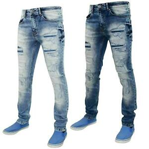 Mens-Ripped-Jeans-Slim-Fit-Skinny-Denim-Stretch-Pants-Cotton-Trousers-28-to-38