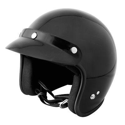 Epic Open Face Helmet Gloss Black - DOT Approved - Adult Motorcycle Helmet