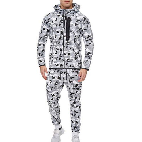 Mode Herren Jogginganzug Camo Set Hoodie Jogginghose Fitnessanzug Sport Suit J//O