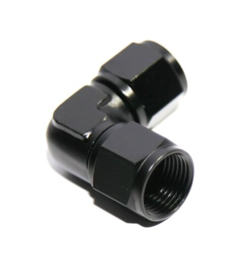 BLACK AN8 Female to 8AN AN-8 Female 90 Degree Flare Swivel Fitting Adapter