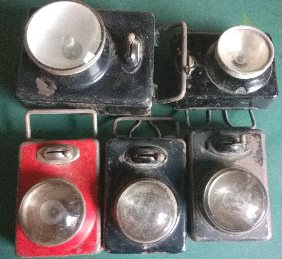 5 x Englische Taschenlampen , 40er-60er Jahre