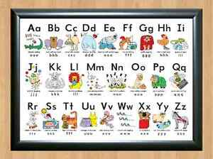photo relating to Abc Chart Printable known as Information and facts concerning Foolish Alphabet Poster Discover My ABC Chart Exciting Little ones Enlightening A4 Image Print