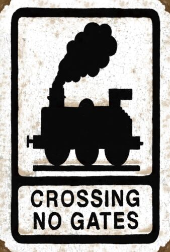 3 sizes - Small // Large and Jumbo Crossing No Gates Train Metal Wall Sign