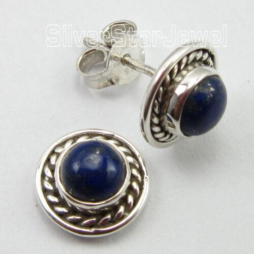 """LITTLE CUTE Earrings 3//8/"""" 925 Sterling Silver Unseen LAPIS LAZULI Gemset"""