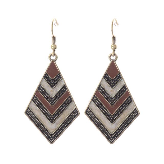 Women's Vintage Bohemian Boho Colorful Resin Enamel Drip Rhombus Dangle Earrings