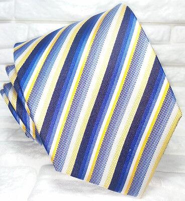 Brioso Cravatta Uomo Regimental Blu Bianca Azzurra Seta 100% Made In Italy Millerighe