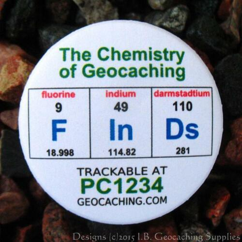 Set of 12 Trackable Chemistry of Geocaching Buttons Different Designs