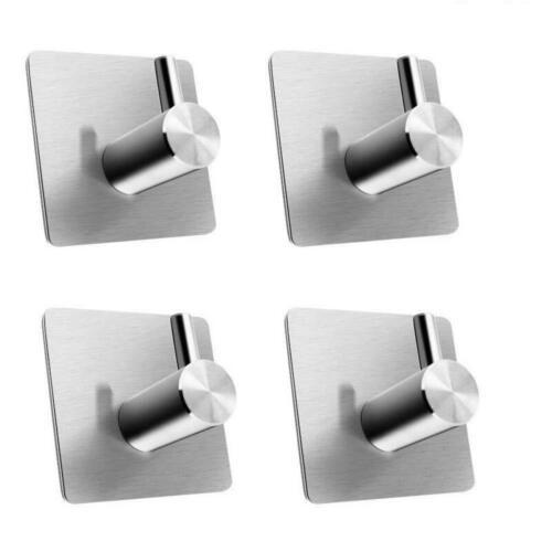 16pc Self Adhesive Wall Hooks,Sticky Stainless Steel Bathroom Door Hanger Holder