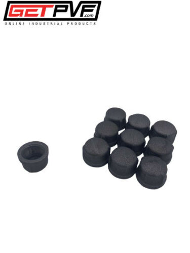 """1/"""" Threaded Black Malleable Iron Pipe Cap Fitting 10"""
