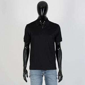 BRIONI-455-Authentic-New-Zip-Polo-Neck-Shirt-In-Black-Cotton-Jersey