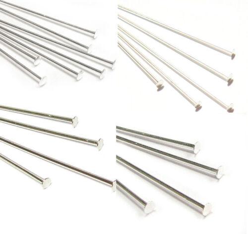 .925 Sterling Silver Flat Headpins 26 24 22 18 Gauge  Many Size 4-50pcs