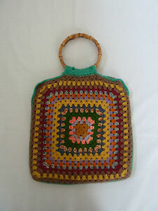 Crochet Bag Bamboo Handles Pattern : Vintage Crochet Bag Handbag With Bamboo Handles eBay