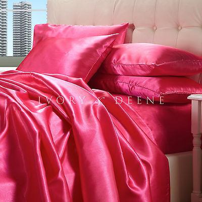 Satin Sheet Set QUEEN Size Hot Pink Quality Luxury Silk Feel Bedding FUCHIA NEW