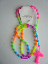 Day-Glo Multi Neon Rainbow Acid Rave Funky Rubber Necklace Rosary Only Two Left