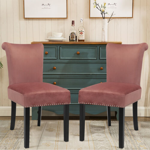 Luxury 2X Velvet Fabric Studded Dining Chairs High Back Occasional Accent Chairs
