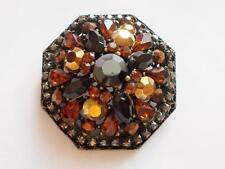 SIGNED BELLADONNA BRONZE TONE BROWN AMBER GLASS CRYSTAL CLUSTER SPARKLING BROOCH
