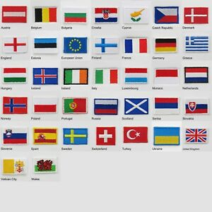 europe country flags tiny iron on cloth patch badge world countries