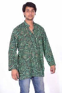 Indian-Men-039-s-Round-Print-Kurta-100-Pure-Cotton-Shirt-Green-Color-Plus-Size
