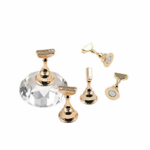 Magnetic-Nail-Tip-Practice-Stand-Base-Crystal-Alloy-Holder-Nail-Art-Display-UK
