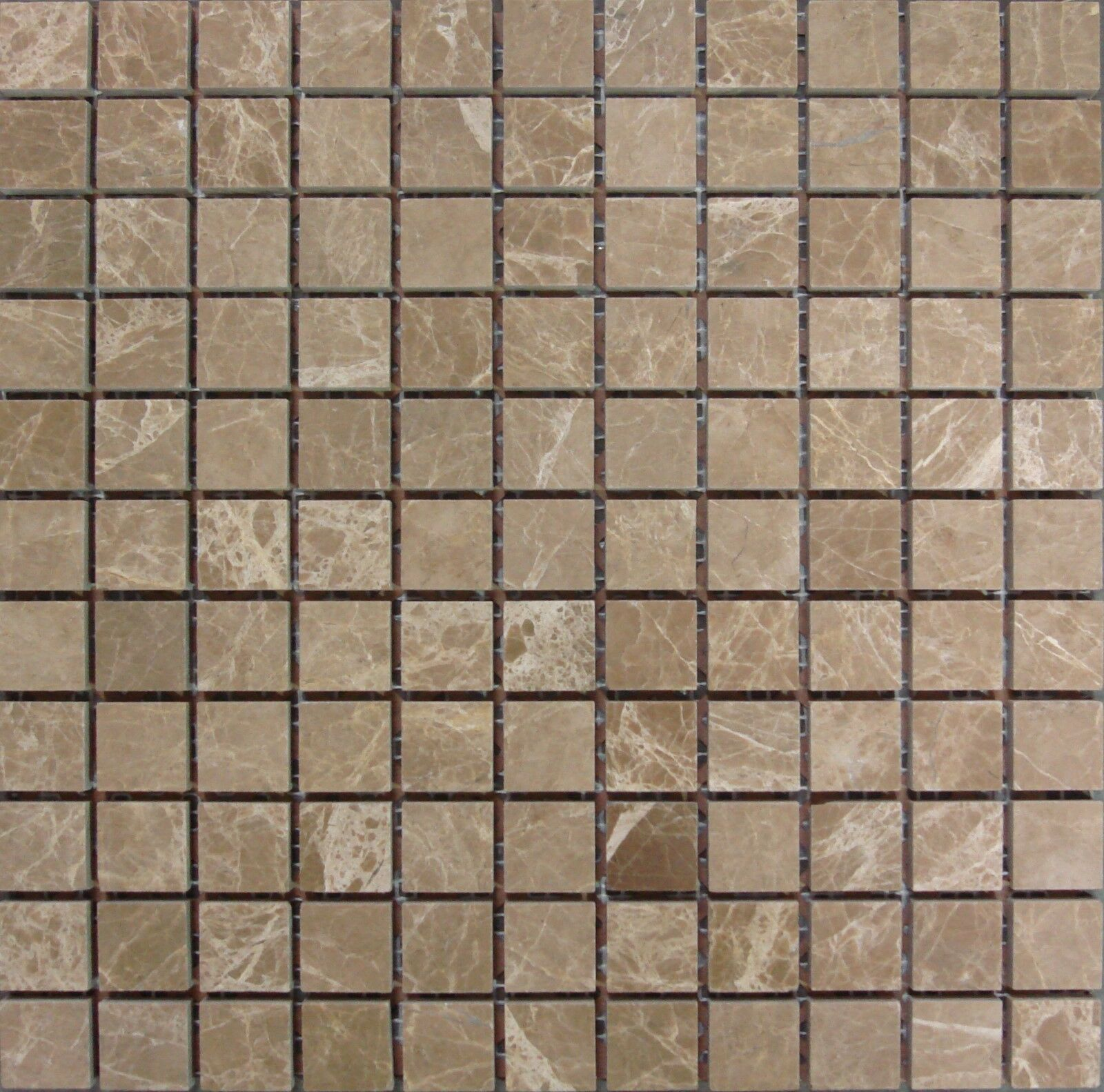 Emperador Light 1 x1  Square Marble Polished Mosaic.( 9.75 per Sheet)