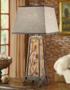 Details About Autumns Light Table Lamp Rustic Lake Log Cabin Lodge Night Light In Base 35 H