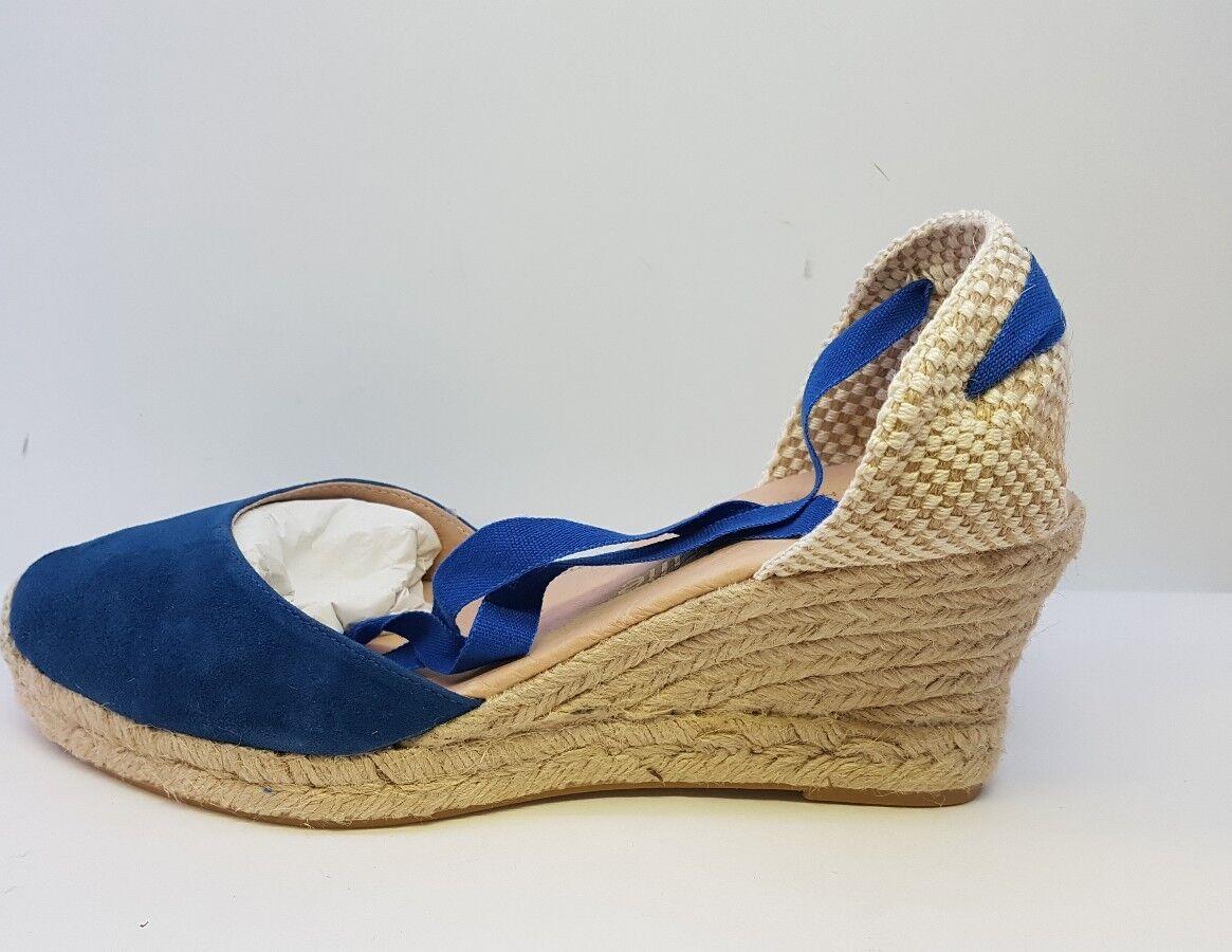 Espadrille Ladies Handmade Größe Ladies Espadrille Wedge Blau Schuhes Größe Handmade 639652