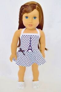 Doll-Clothes-18-034-Bathing-Suit-Paris-Shoes-Black-White-Fit-American-Girl-Doll