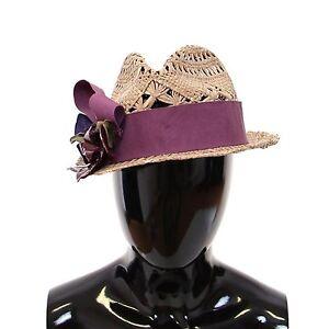 d80abd08136 NEW  900 DOLCE   GABBANA Beige Catwalk Floral Fedora Trilby Hat ...