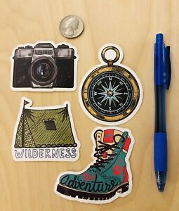 Camping-Stickers-Camera-Tent-Outdoors-Boot-Compass-For-Luggage-Laptop-Tackle