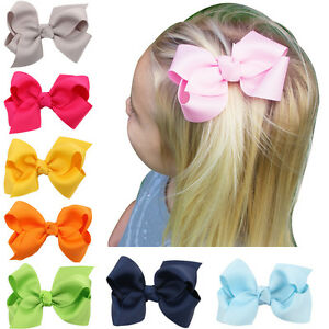 3-Inch-Hair-Bow-Boutique-Girls-Kids-Clips-Headwear-Bowknot-Hair-Accessories