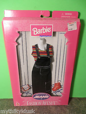 1998 Barbie AUTHENTIC JEANS Fashion Avenue #20598 Overall Pants, stripe top NRFB