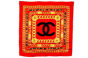 CHANEL-Large-Format-Scarf-100-Silk-Coco-Mark-CC-Logo-Chain-Accessory-Red-3695k