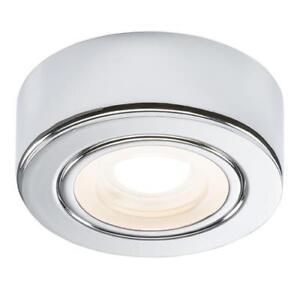 huge discount 6b590 3cbf4 Details about Polished Chrome LED Round Under Cabinet Lighting Shelf  Lighting Warm Cool White