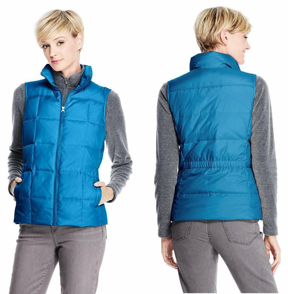 Land's End Teal bluee Zip Front Quilt Down Feather Puffer Vest Womens Large 14 16