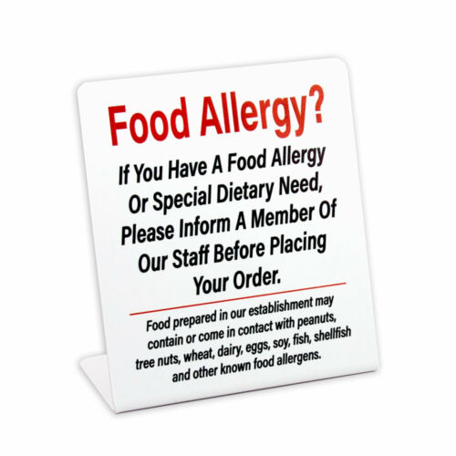 Plastic Free Shipping 3 Pack Food Allergy Counter Sign