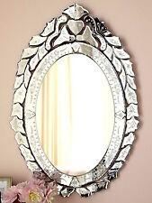 French Antique Horchow Neiman Ernhart Oval Venetian Glass Mirror Bath Vanity