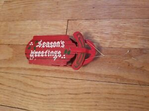 Red Green Wooden Metal Sled Christmas Tree Ornament Season