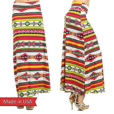 Women Multi Color Pink Yellow Green Tribal Aztec Color Print Long Maxi Skirt USA