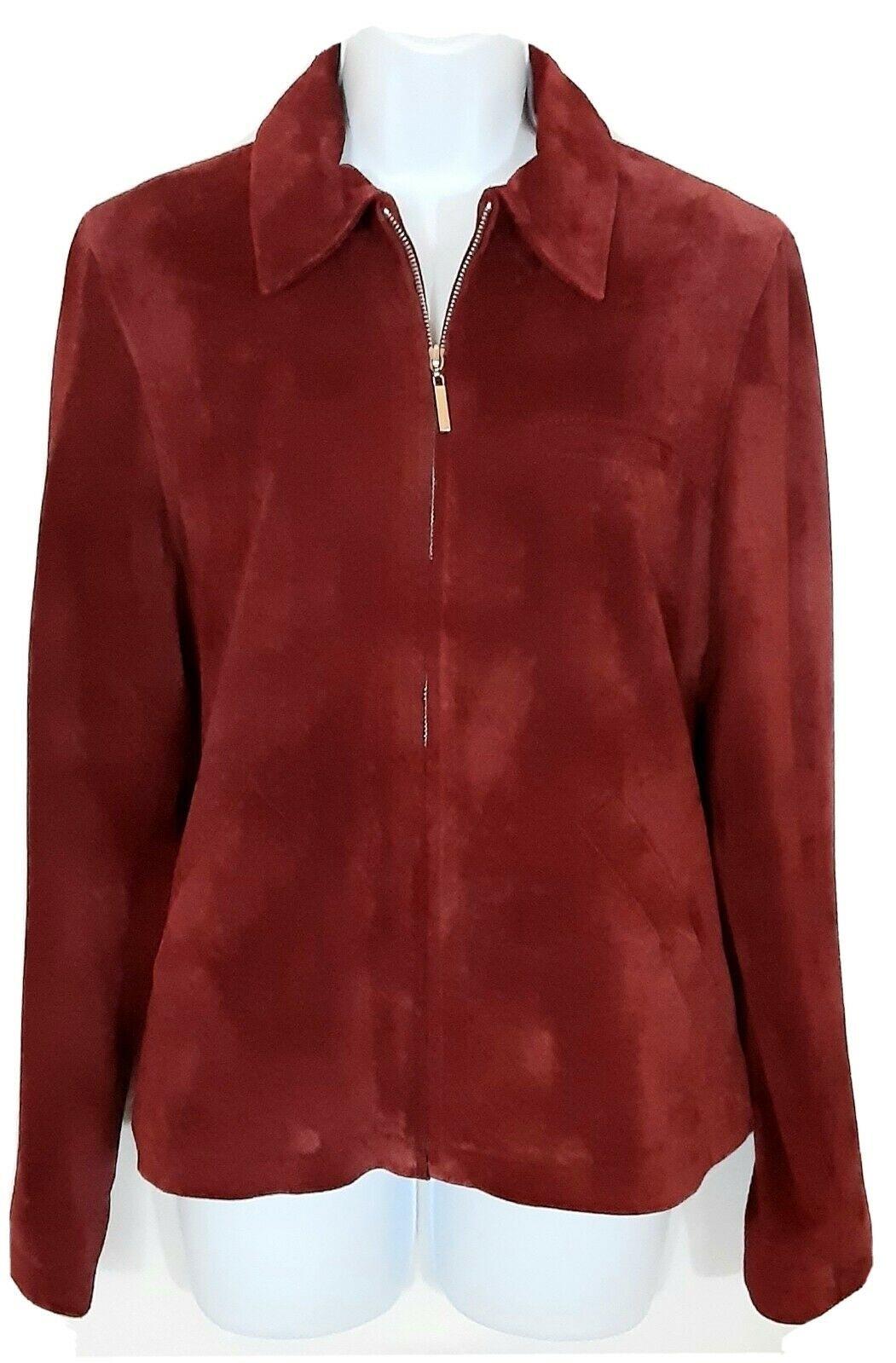 Atelier by B. Thomas Suede Jacket Size S Cranberry Color Full Zip Front Lined